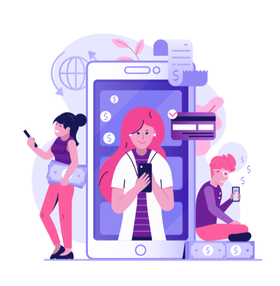 Earning Money On The Phone Illustration