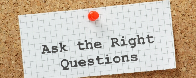 ask the right questions sign